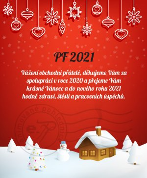 Vánoční krajinka (červené pozadí)