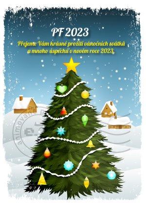 Ozdobený vánoční stromek (domky v pozadí)