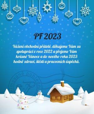 Vánoční krajinka (modré pozadí)